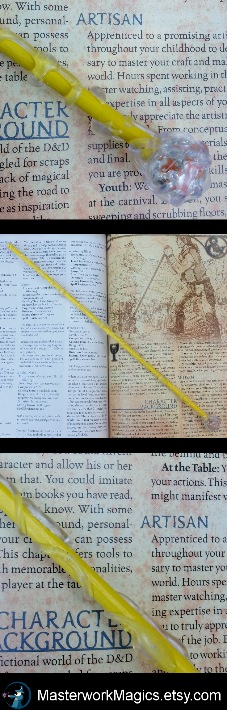 Yellow magic wand with orange gem from the Starlight collection by Masterwork Magics. #magic #wand