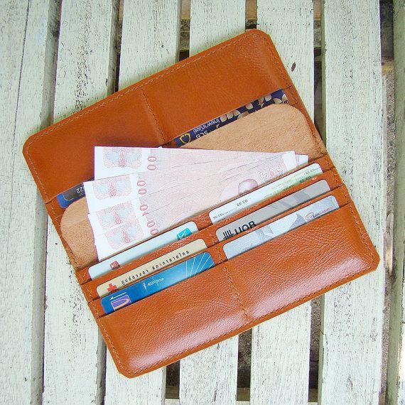 Orange Long Leather Wallet / women wallet / by AccentHandicraft, $39.90