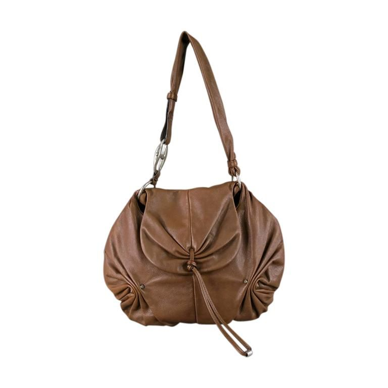 YVES SAINT LAURENT by TOM FORD Brown Ruched Leather Shoulder Bag Fall 2003 | 1stdibs.com