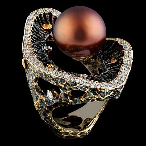 Jewellery Theatre REVELATION chocolate pearl, diamonds and yellow sapphires ring