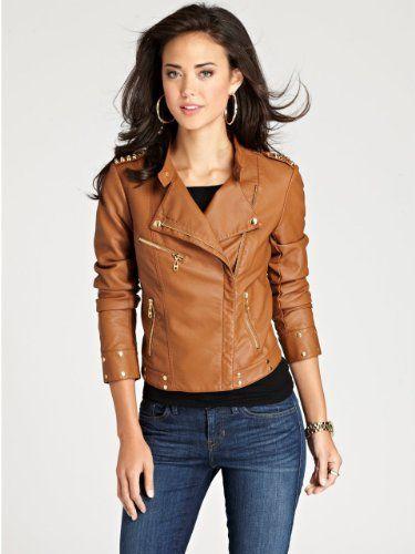 GUESS Spanish Faux-Leather Studded Jacket, CHESTNUT BROWN (MEDIUM) GUESS,http://www.amazon.com/dp/B00ECRJ1FW/ref=cm_sw_r_pi_dp_u0gssb0W7R372PM3