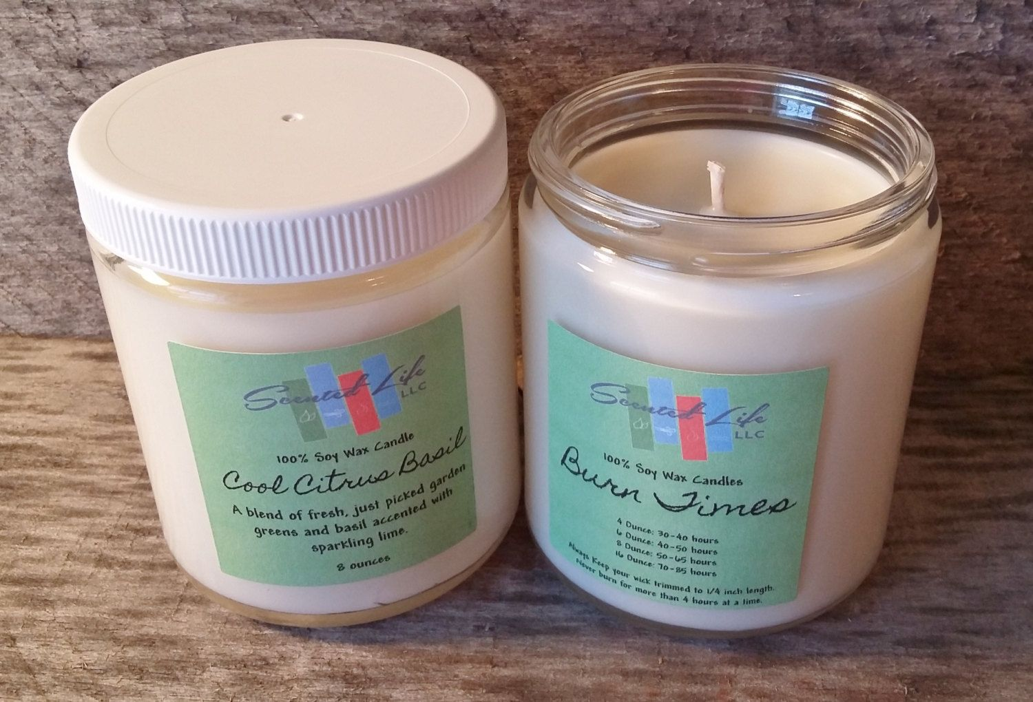 Cool Citrus Basil Candle, Soy Candle, Eco Friendly Candle, 8 Ounce Candle, Natural Candle, Container Candles, Home Decor, Gift Ideas by ScentedLife on Etsy