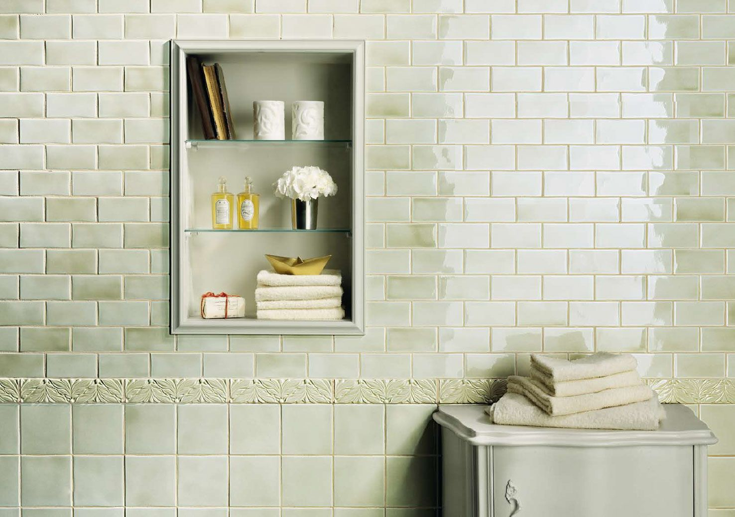 Medley by fine in green tea available in 5x5 and 2x5 wall for Bathroom ideas 5x5