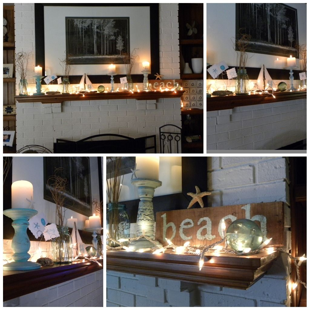 mantel lighting. cute lights on beach themed mantle nautical beachdecor beachstyle mantel lighting