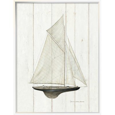 "East Urban Home 'Sailboat I' Print Format: Silver Framed Canvas, Matte Color: No Matte, Size: 33.6"" H x 25.6"" W"
