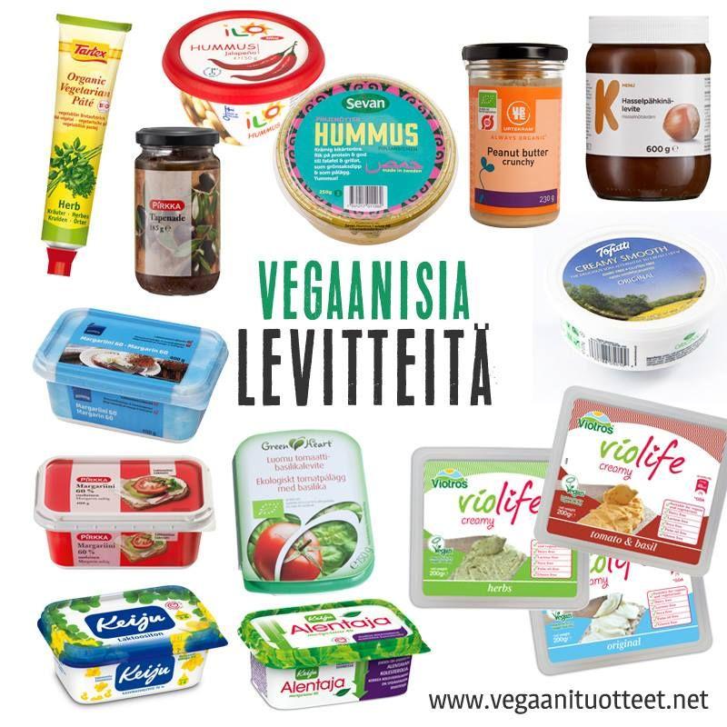 Vegaanisia levitteitä sipaistavaksi esimerkiksi leivälle.  Lisää margariineja tässä listassa: http://www.vegaanituotteet.net/perusruuat/margariinit Muita levitteitä täällä: http://www.vegaanituotteet.net/valmisruuat/tahnat-levitteet