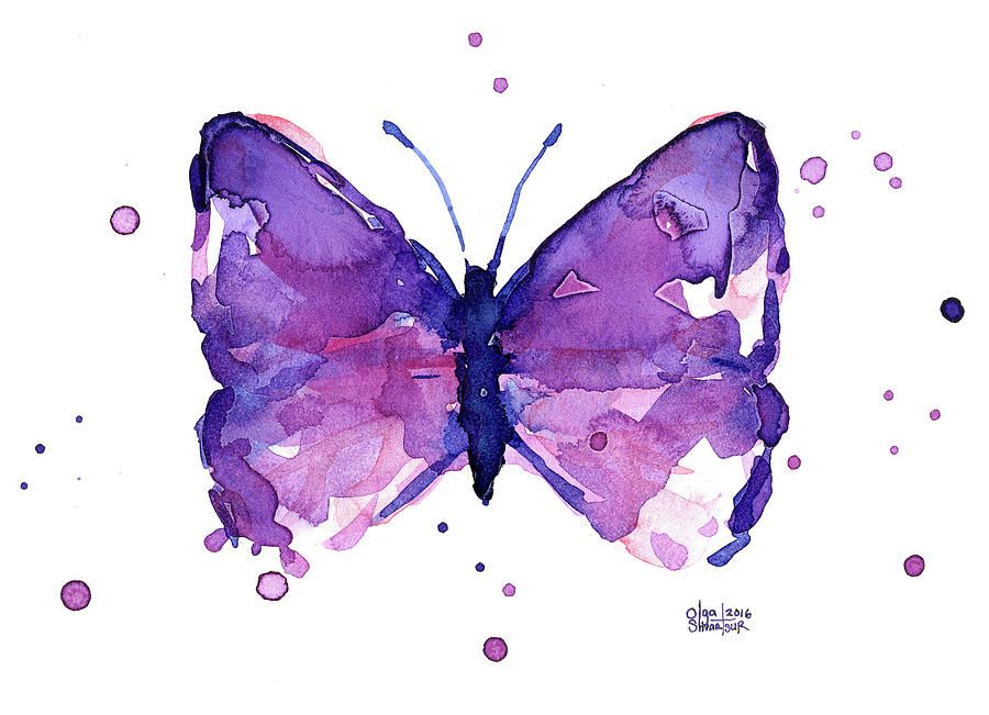 Abstract Purple Butterfly Watercolor Butterfly Watercolor