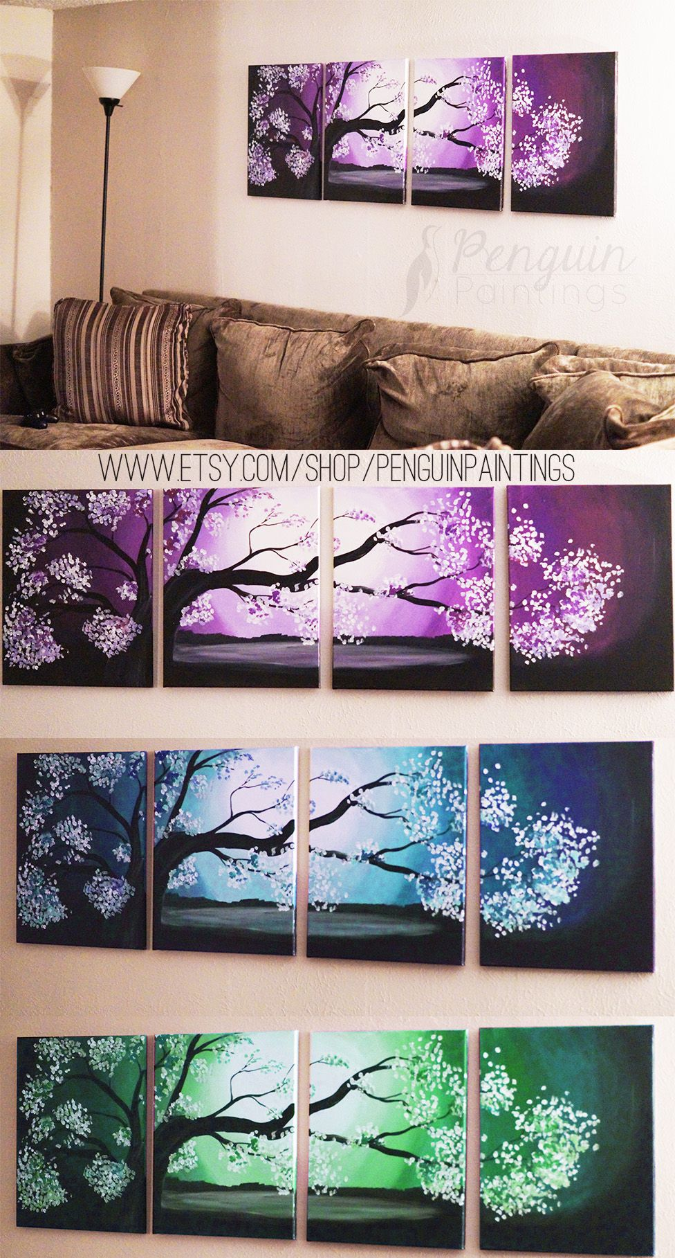 Pretty custom made Japanese tree paintings from Penguin Paintings on Etsy! https://www.etsy.com/listing/262016953/original-painting-purple-japanese-tree?ref=shop_home_active_1