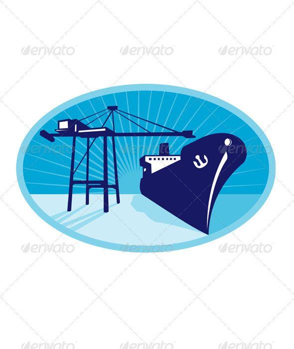 Container Boom Crane Loading Ship Boat | Logistics Logos