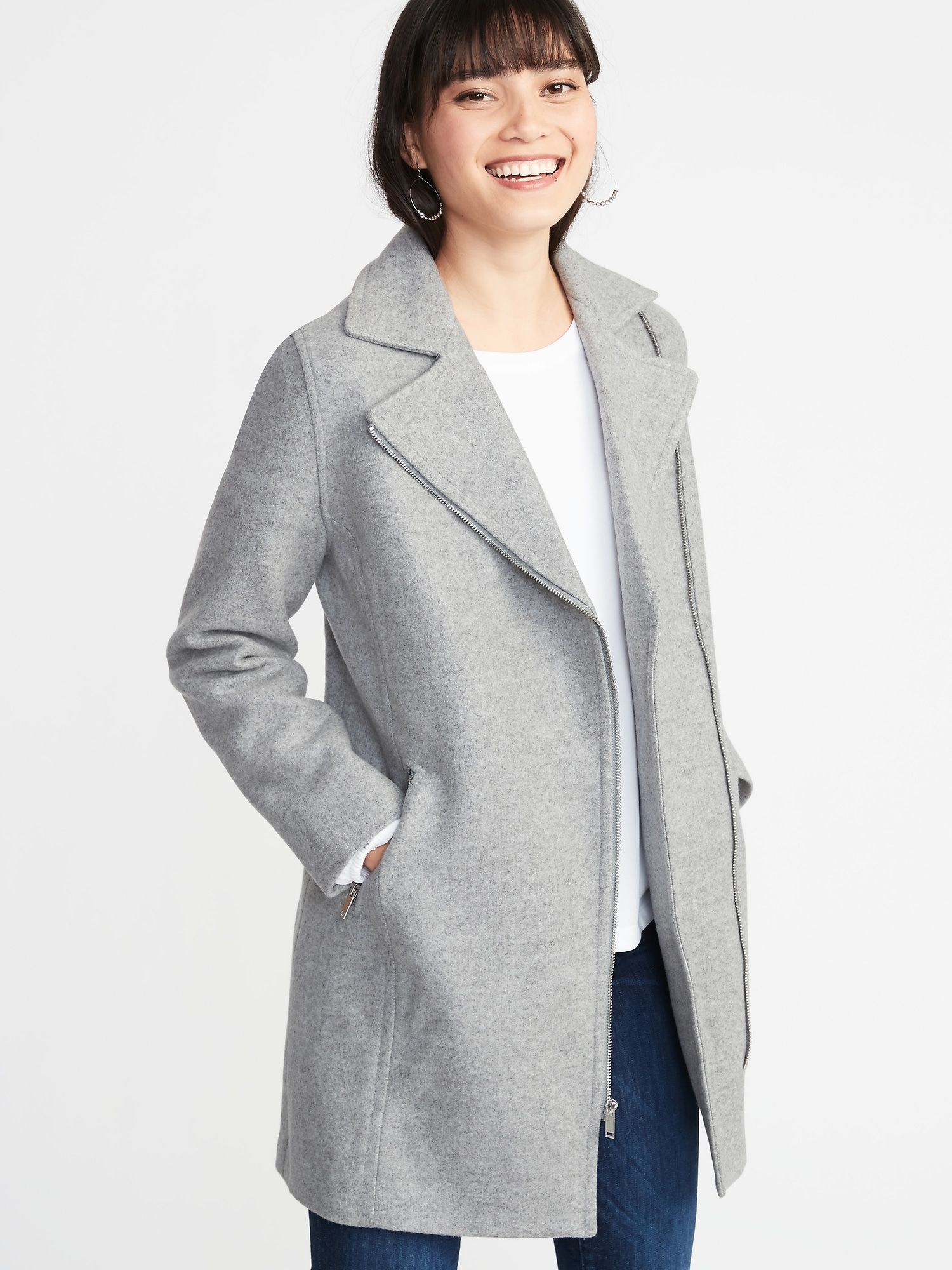 8fa7a843b1179 Soft-Brushed Long-Line Moto Coat for Women in 2019
