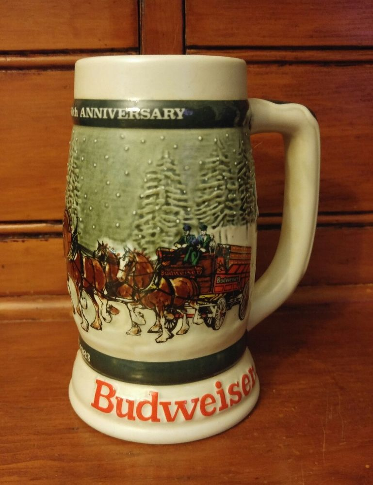 1982 BUDWEISER 50th Anniversary 1983 Clydesdale Holiday Beer Stein 1933-1983