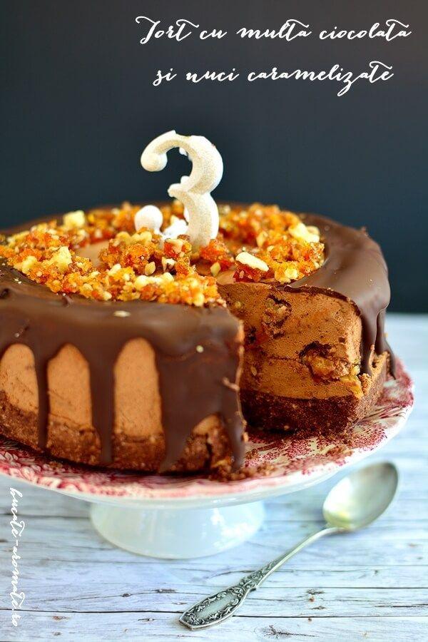 Tort cu ciocolata si nuci caramelizate