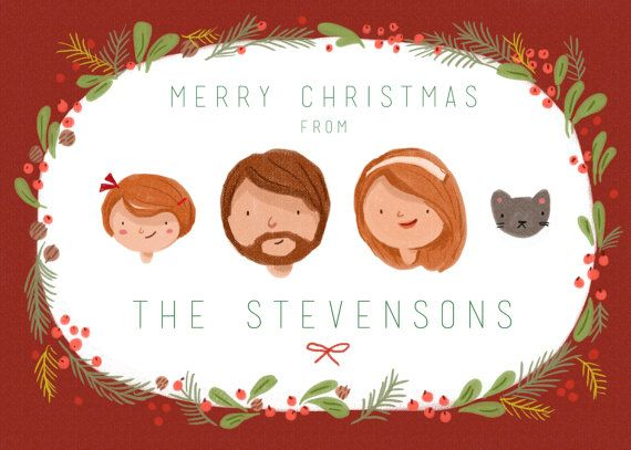 Custom Illustrated Family Portrait Christmas By Kathrynselbert 55 00 Family Christmas Cards Holiday Cards Family Custom Illustrated Family Portrait