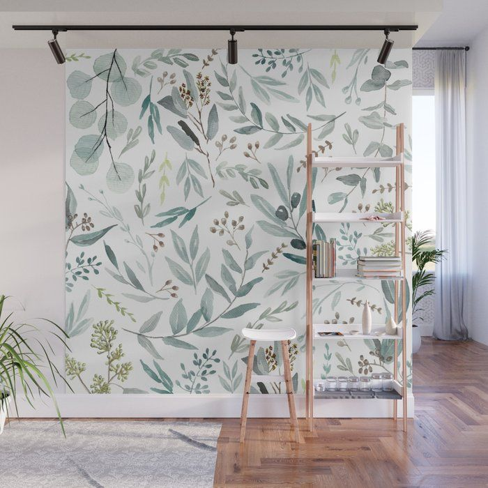 Eucalyptus pattern Wall Mural by aniiiz