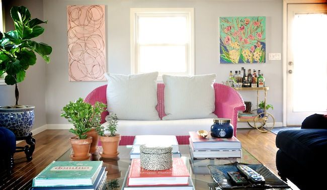 DiCorcia Interior Design Bungalow Living Room. Amanda Stone Talley and Lulie Wallace Paintings