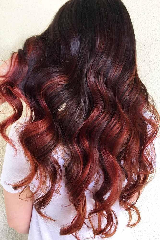 Hair Color 2017 2018 Cherry Highlights On Dark Brown Hair Brunette