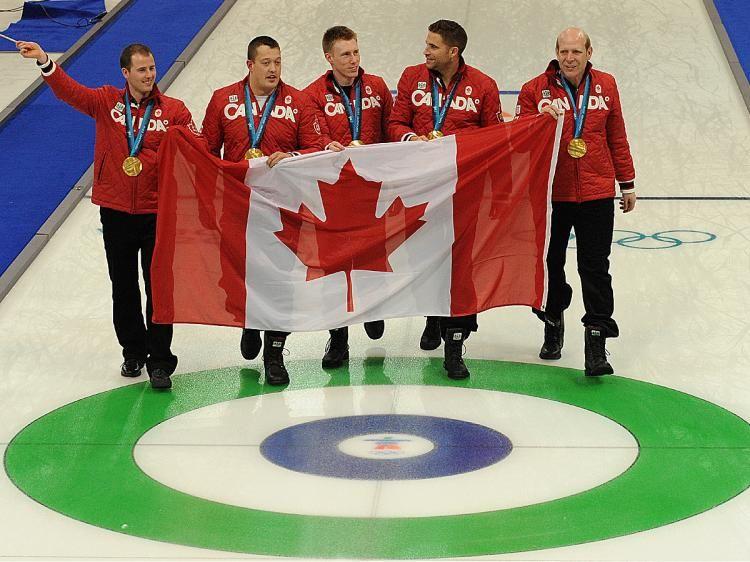 Canada's gold medal curling team— Adam Enright, Ben Hebert
