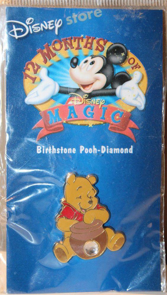 Winnie The Pooh Disney Birthstone Diamond Collectible Pinback Pin Button #McDonalds