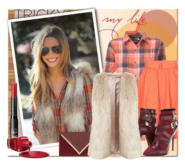 """""""tricky trend faux fur vest"""" by anna-anica ❤ liked on Polyvore featuring Ermenegildo Zegna, The North Face, Carven, NARS Cosmetics, Zoya, Cesare Paciotti, Dorothy Perkins, TrickyTrend and fauxfurvest"""