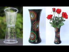 Vaso para plantas feito com reciclagem de copo plastico, jornal e gesso simples fácil passo a passo