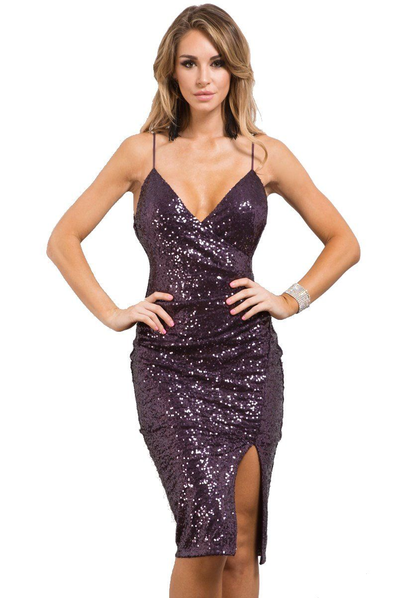 9e2598f105e Nyteez Women s Deep Purple Sequin Cocktail Dress