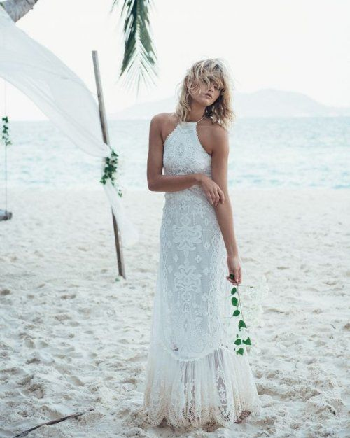 18 Bomemian Chic Summer Wedding Dresses For The Modern Boho Princess Stunning Halter Top