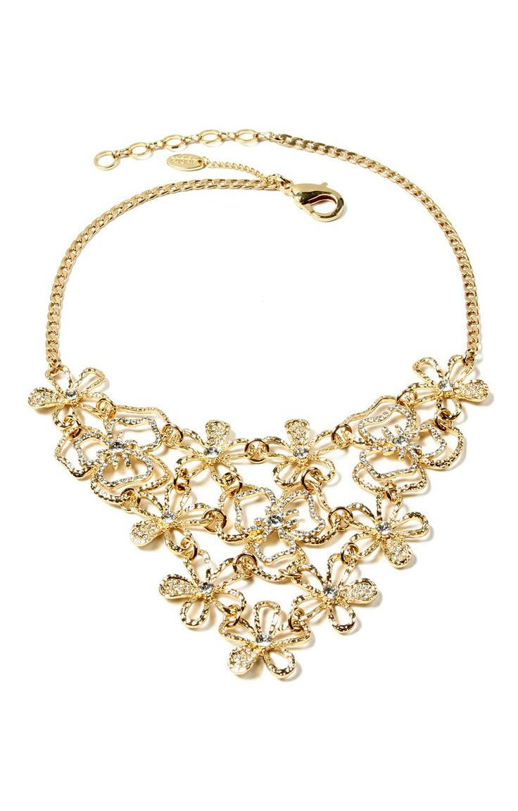 Gold Emily Floral Bib Necklace