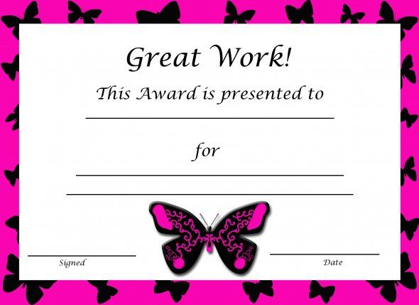 Free Printable Award Certificates For Kids Certificate, Free