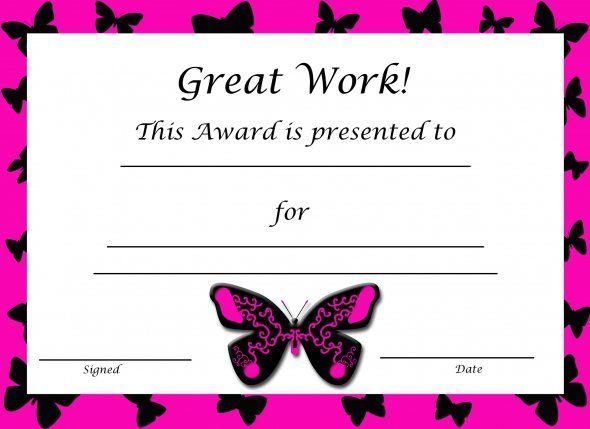 Free Printable Award Certificates For Kids Certificate, Free - kids certificate templates