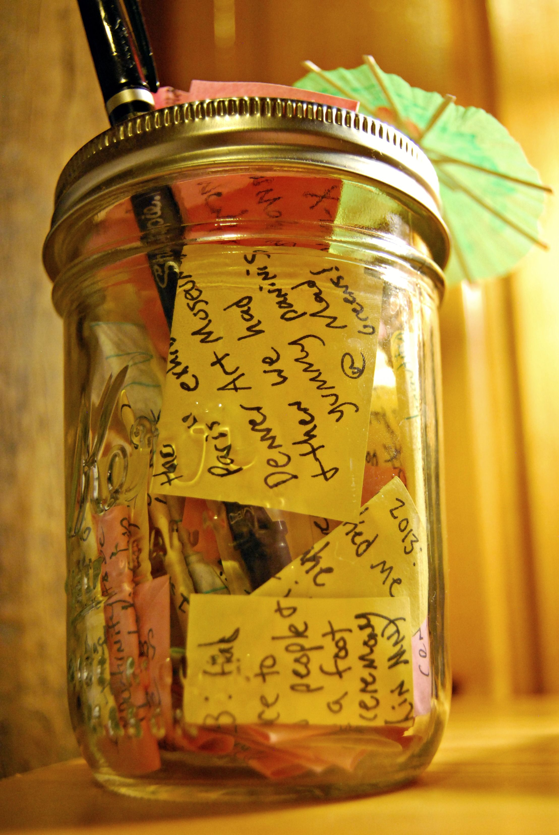 Mason Jar Full Of Little Sticky Notes Every One Of Them With Something Someone Or Something That Happened That I M Thankful Mason Jars Mason Jar Crafts Jar