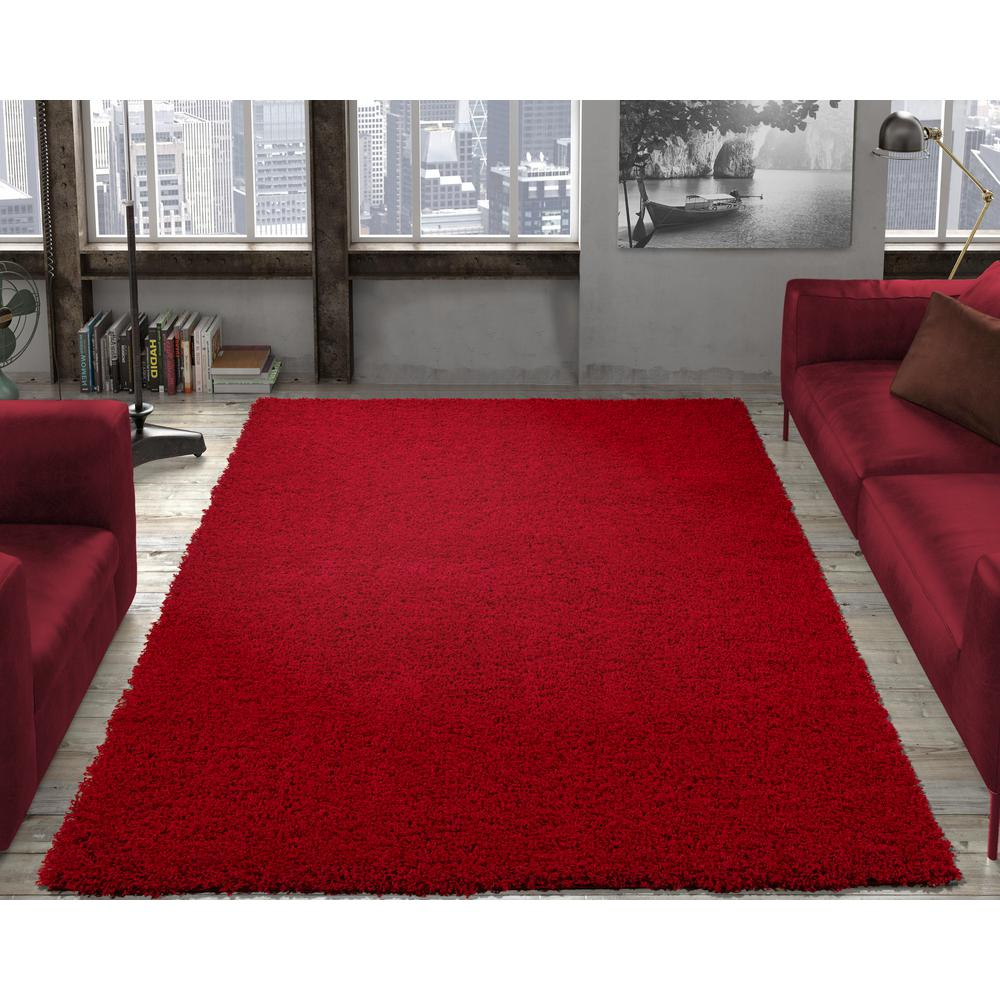 Ottomanson Contemporary Solid Dark Red 3 Ft X 5 Ft Shag Area Rug Shg2760 3x5 The Home Depot Shag Area Rug Contemporary Area Rugs Solid Area Rugs