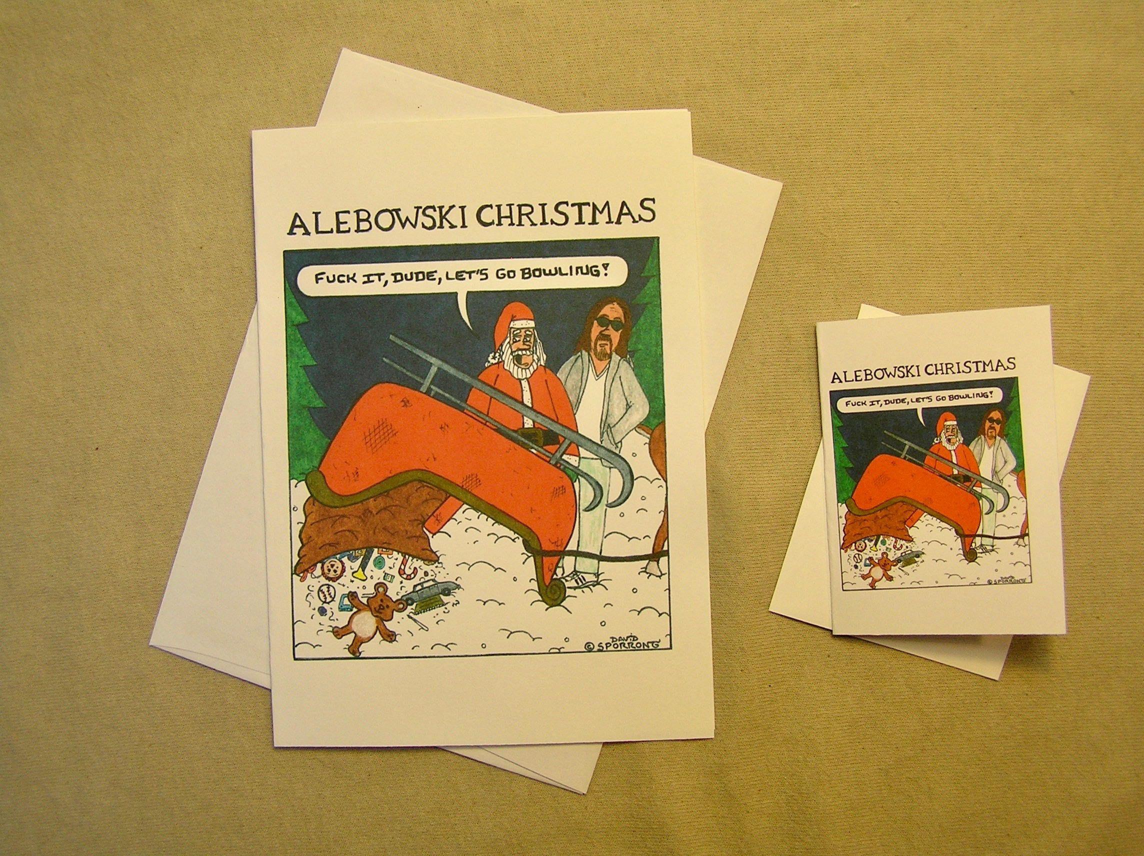 A Lebowski Christmas Card Santas Wrecked Sleigh Regular Size And