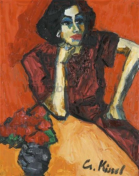 kunstwerk door gernot kissel sitzende frau in rotem kleid