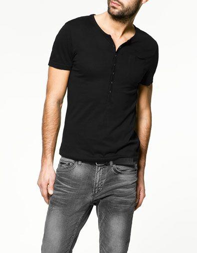 CAMISETA CUELLO PANADERO - Camisetas - Básicos - Hombre - ZARA España 44b2a278556