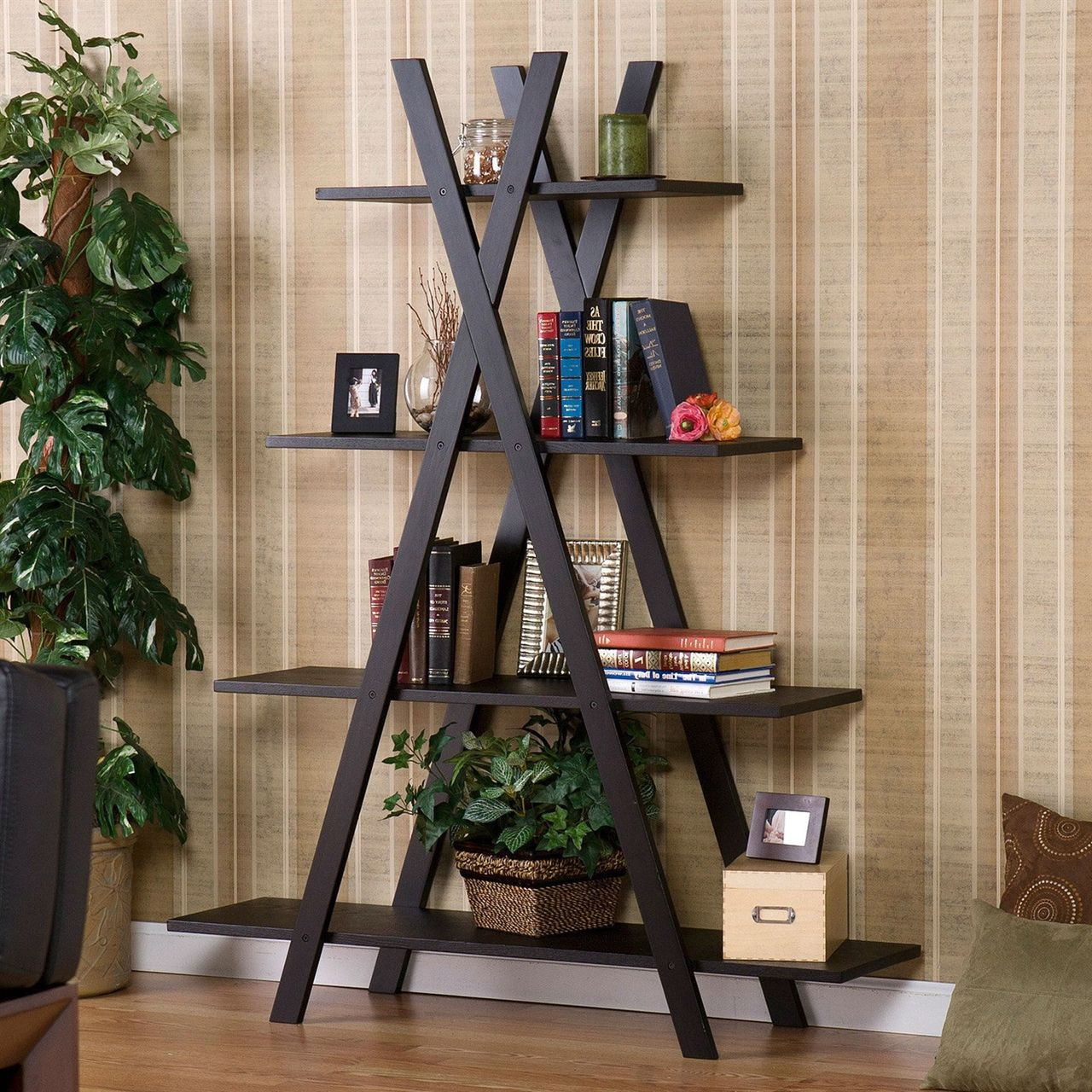 Modern 4 Shelf Bookcase Bookshelf Display Shelves,Office/Living Room/Bedroom