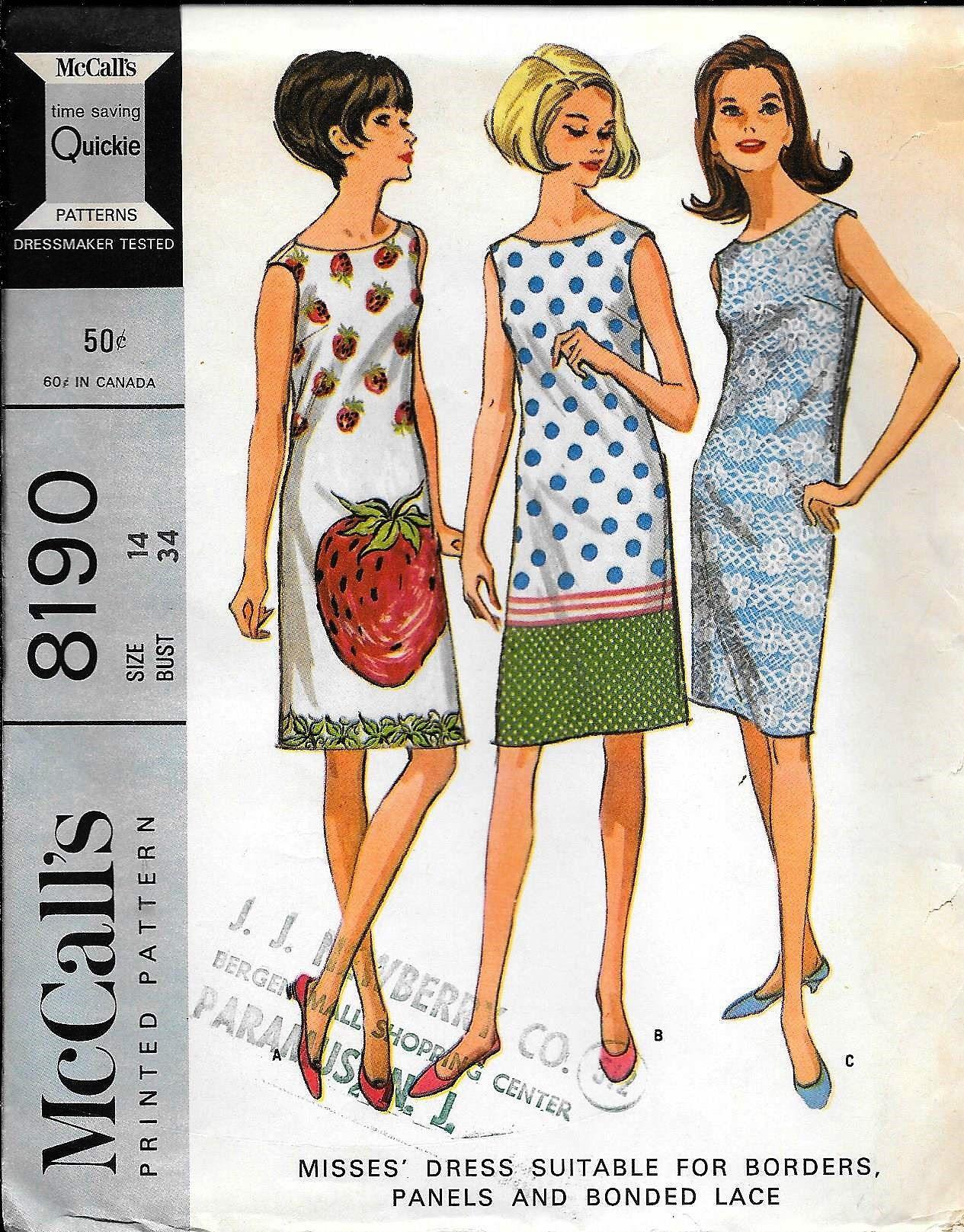 Mccall S 8190 Vintage 1960s Sleeveless Sheath Dress Sewing Etsy Shift Dress Pattern Mccalls Patterns Dress Sewing Dresses [ 1617 x 1265 Pixel ]