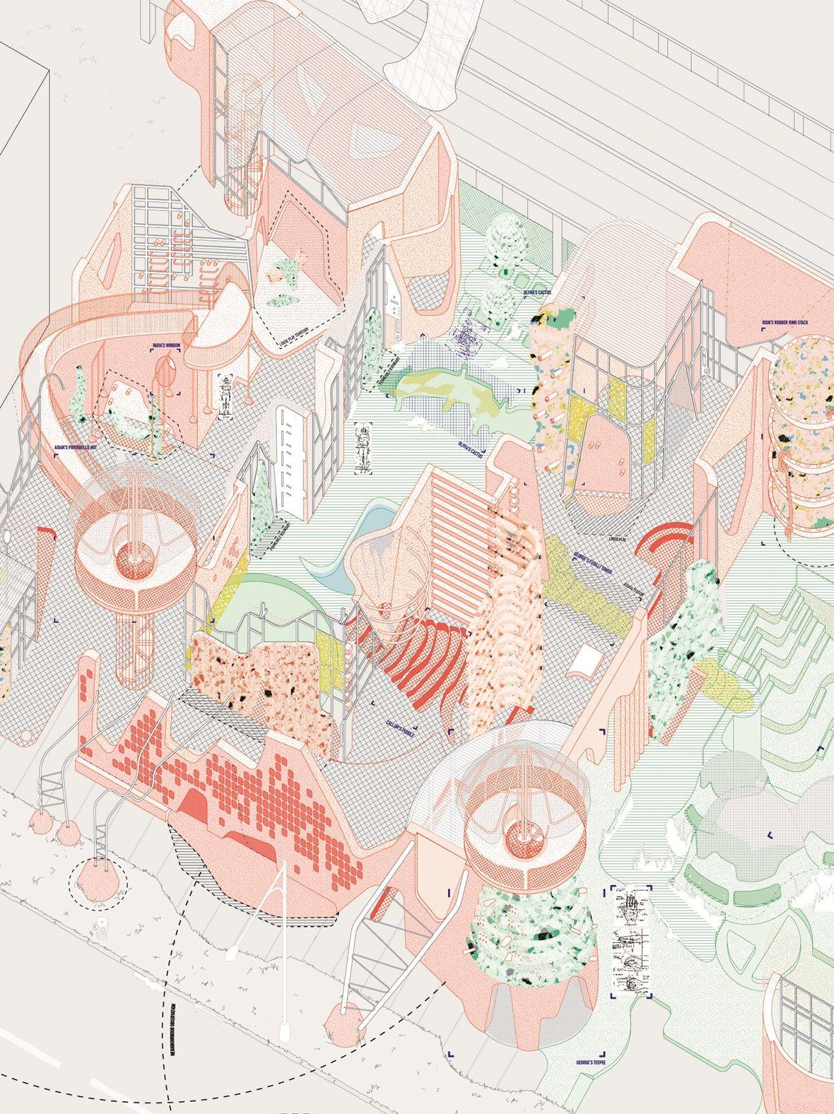 School garden design drawing - Axo Emma Kitley More School Architecturearchitecture Drawingsaxonometric