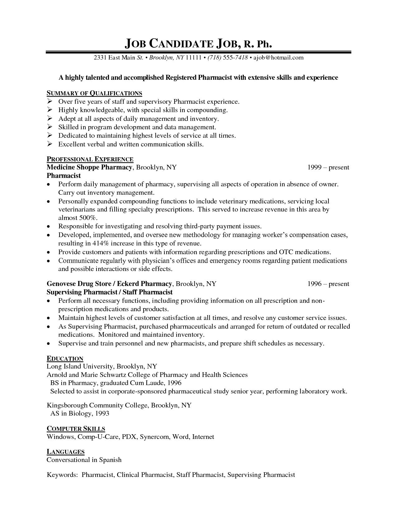 Pharmacist Resume Sample Pharmacist Resume Examples  Httptopresumepharmacist