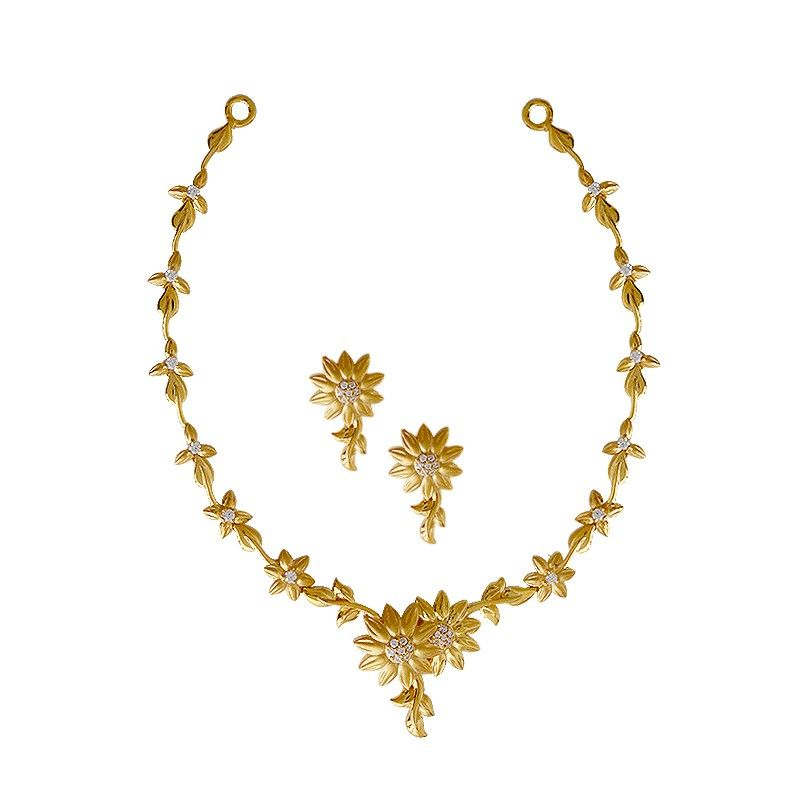 Necklaces | Daisy Flower Gold Necklace Set | GRT Jewellers ...