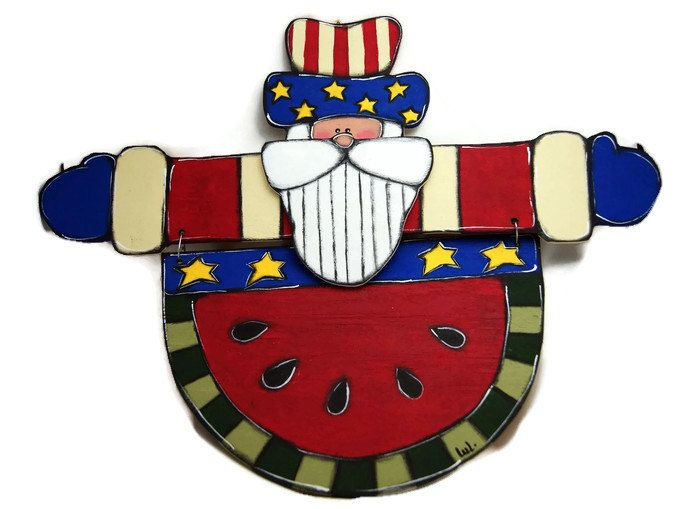 Uncle Sam and a slice of watermelon door hanger - Uncle sam door sign - 4th of July sign - Independence day de la boutique LULdesign sur Etsy