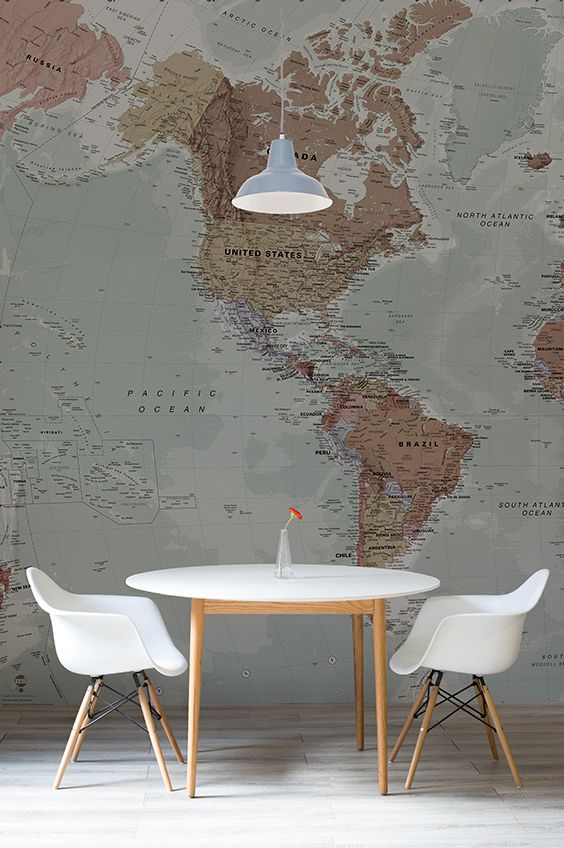 Classic world map wallpaper wall mural muralswallpaper this wonderful map wallpaper encompasses beautiful muted tones making gumiabroncs Gallery