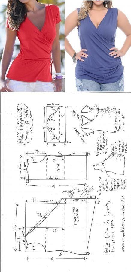 costura #moldes | A patrones | Pinterest | Molde, Costura y Blusas