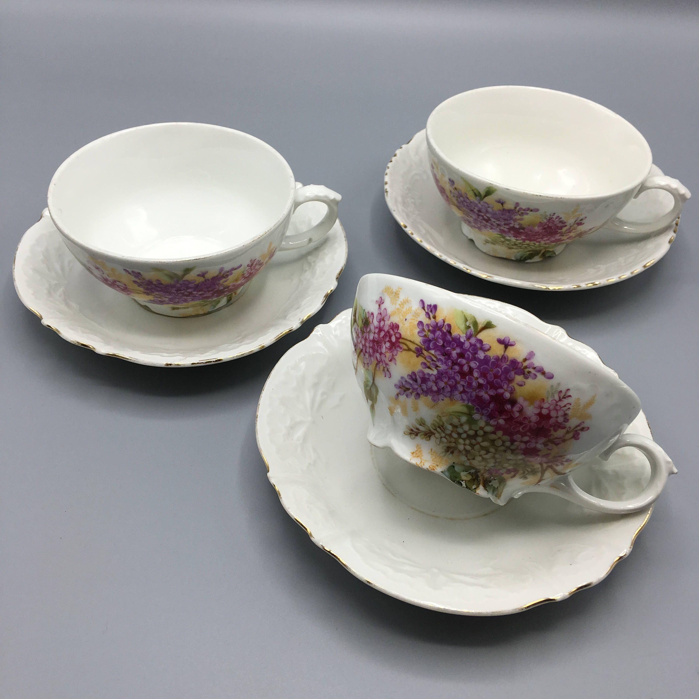 3 tasses à thé tasses à café tasses vintage porcelaine faïence céramique  tasses dépareillées motif fleurs Lilas Années 50 lesinsol… | Tea cups,  Tableware, GlasswarePinterest