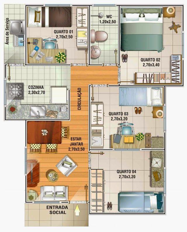 Planta de casa com 4 quartos projetos de casas pinterest for Jardins mangueiral planta 3 quartos