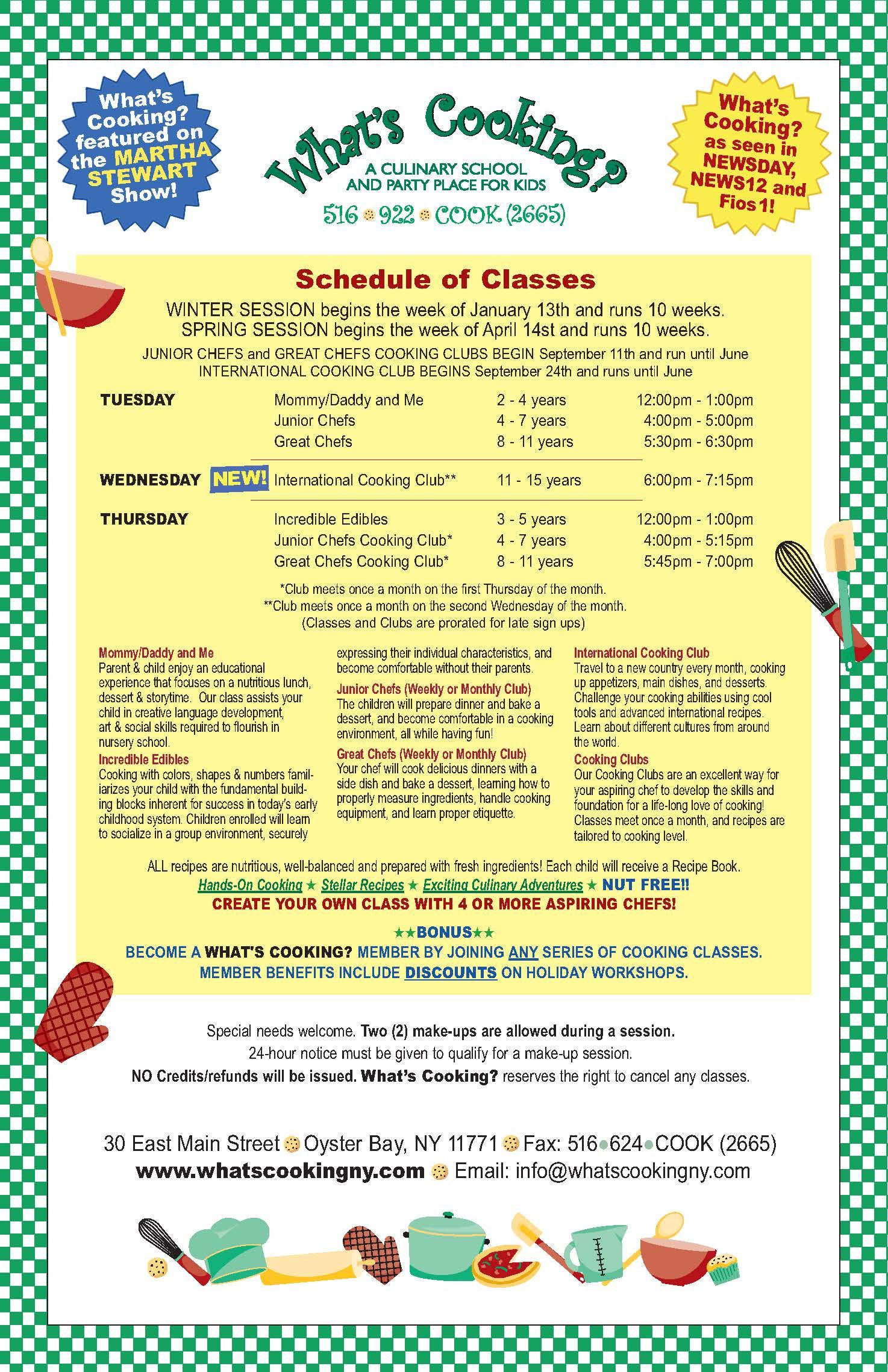 Long Island Culinary Classes Scout Cooking Badges And Summer Camp For Children Class Schedule Nassau County Culinary Classes What To Cook Baking Classes