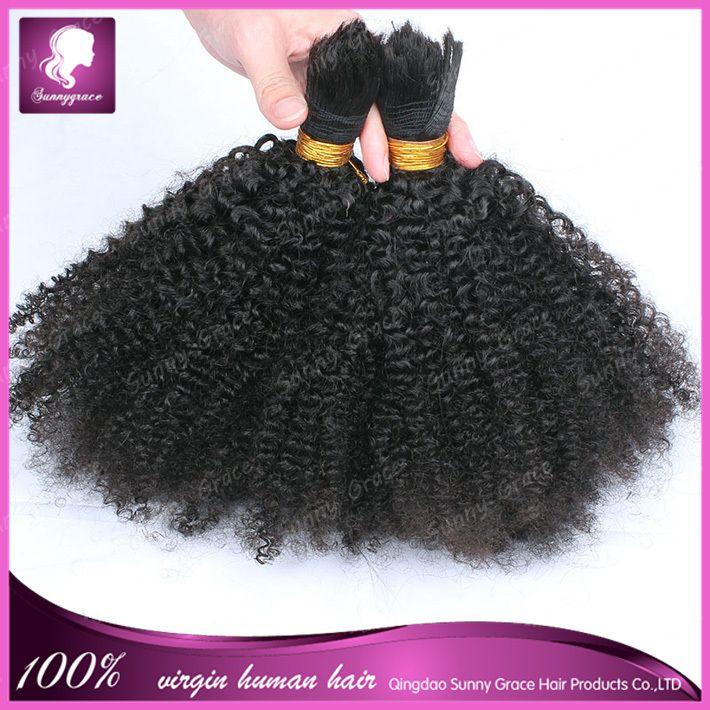 Mongolian Bulk Human Hair Weft Virgin Hair Extensions Afro Kinky