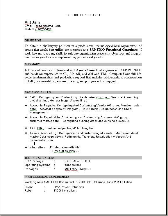 sample resume sap consultant how write good document based and - sap fico sample resumes