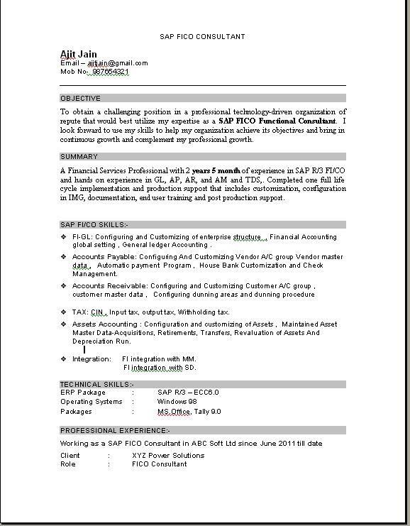 Sap Fico Consultant Resume Download Jpg 578 741 Download Resume Sample Resume Resume Pdf