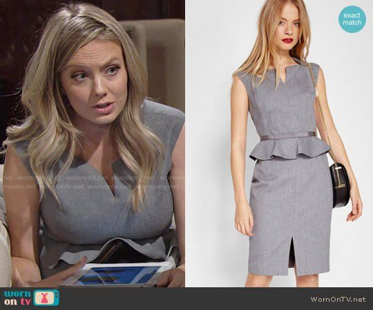 f5a8ef81fa490f Abby s grey peplum dress on The Young and the Restless. Outfit Details   https