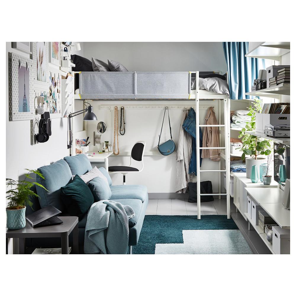Best Vitval Loft Bed Frame With Desk Top White Light Gray 400 x 300